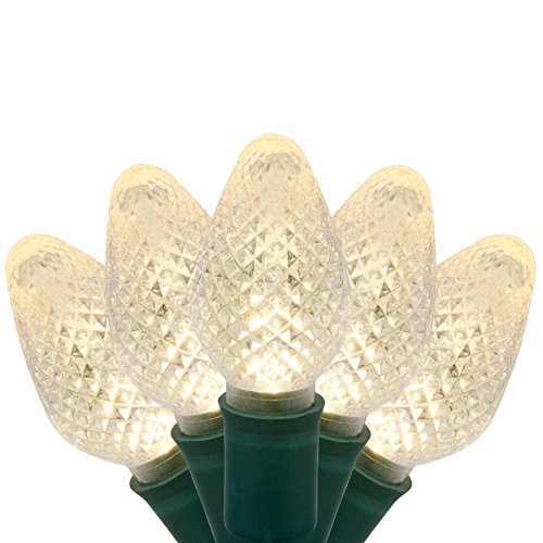 (C7 LED Faceted Warm White Prelamped Light Set, Green Wire - 25 C7 Warm White LED Christmas Lights, 8