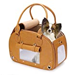 PetsHome Dog Carrier Purse, Pet Purse, Waterproof Premium Leather Pet Travel Portable Bag Carrier for Cat and Small Dog Home & Outdoor Small Brown