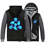 Holran Naruto Noctilucent Akatsuki Thicken Jacket Cosplay Sweater (BlackGrey XX-Large)