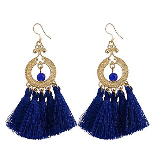 Shaped Tassel (Polytree Fan Shaped Tassel Earrings Statement Boho Ethnic Drop Dangle Hook Earrings for Women Girls (Dark Blue))