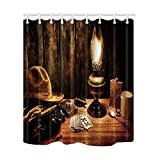 NYMB Cowboy Farm Hat Decor, Kerosene Lamp and Poker on Wooden Desk in House Shower Curtain, Polyester Fabric Waterproof Bath Curtain, 69X70 in, Shower Curtains Hooks Included, Brown(Multi33)