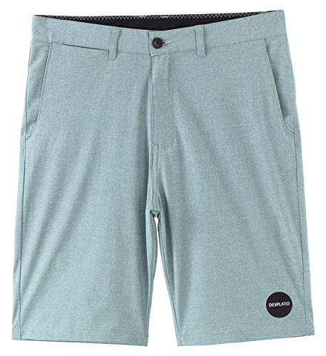 DESPLATO Men Casual 4way Stretch Submersible Hybrid Flat Front Golf Chino Short Mint Heather 32
