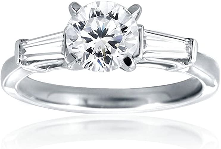 9 Round CZ /& Baguette Accents Cubic Zirconia Stainless Steel Engagement Promise Wedding Ring