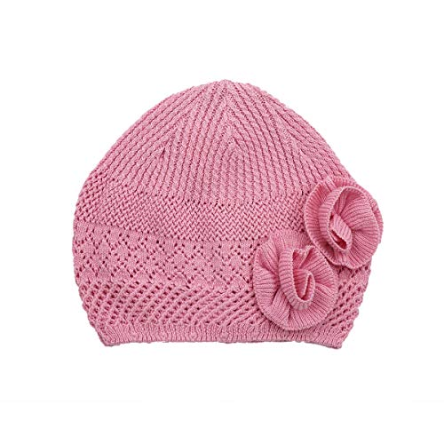 LLmoway Kid Beanie Hat Toddler Girls Knit Cap Soft Cotton Crochet Skull Cap, Pink, 1-Ply, 6M-2T