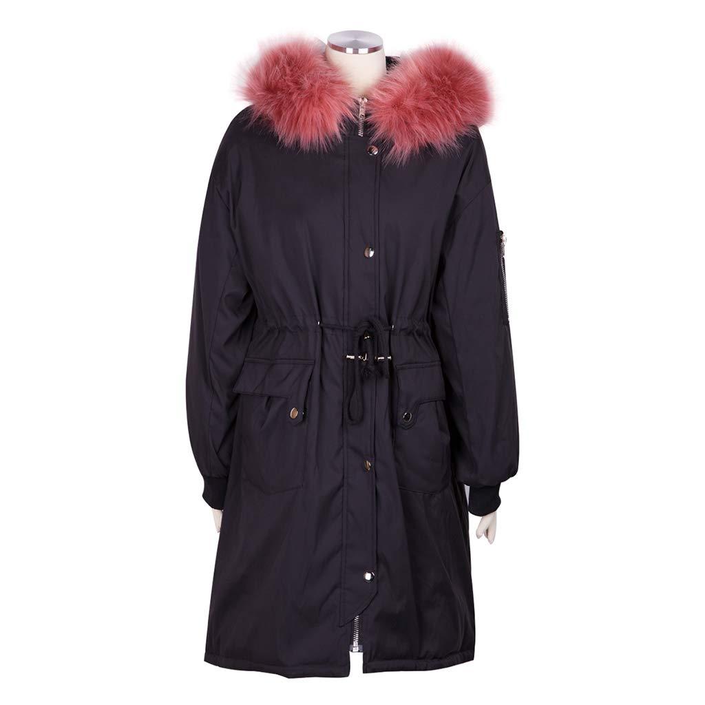 ... Cappotti Lungo Giacche Invernale Lungo Cappotti da Donna alla Moda e  Caldo Lungo Nero alla Stampa 2321c8a5905