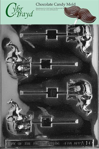Cybrtrayd A016 Elephant Lolly Chocolate Candy Mold with Exclusive Cybrtrayd