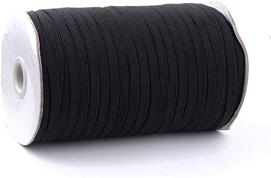 Fashewelry 180 Yards 5mm Width Braided Elastic Band Black Flat Stretch Elastic Cord with Spool for Knitting Sewing Craft Making