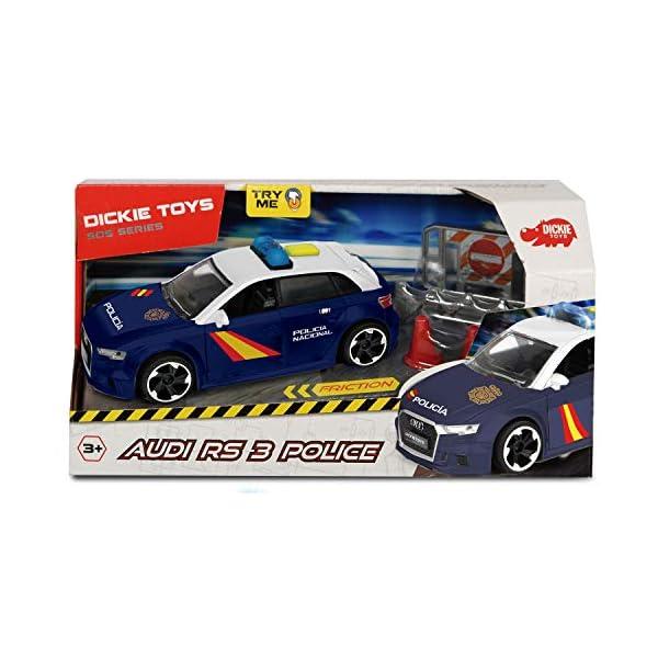 Dickie- Policía Nacional Control Policial Audi RS3 15cm 1153011 Vehículo de Juguete con función 3