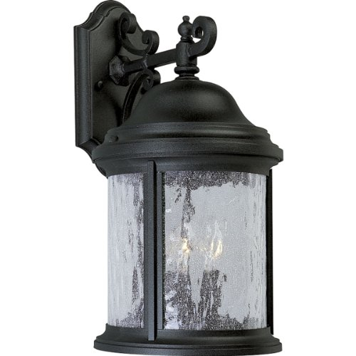 Progress Lighting P5650-31 3-Light Cast Aluminum Wall Lantern with Water-Seeded Glass, Textured Black - 31 Three Light
