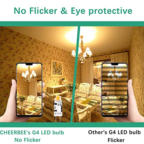 G4 LED Bulb 12V, Warm White 2700K, 1.2W G4 Bi-pin LED Bulb, 10W JC Halogen Equivalent, Mini G4 LED Light Bulb for Cooker Hood, Home Lighting, 140LM, CRI>82, No Flicker, Non-dimmable, 10 Pack, CHEERBEE