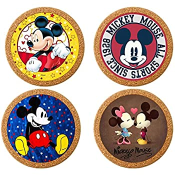 Surmoler Coasters for Drinks 4 inches Drink Coaster (4-Piece Set) Round Natural Cork Coasters 0.4 inches Thick Heat-Resistant Reusable Saucers for Drinks - Mickey