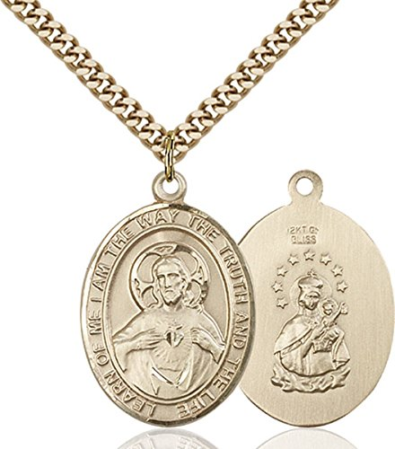 Patron Saints by Bliss 14K Gold Filled Catholic Scapular Medal, 1 Inch