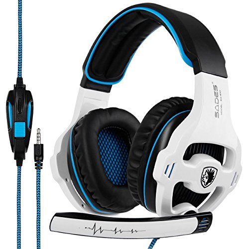 SADES SA810 Gaming Headset Stereo Surround Sound Headphones Volume Control Bass Gaming Headphones with Noise Isolating Microphone For Xbox One PS4 PC Laptop Mac(White and Blue) by Sades