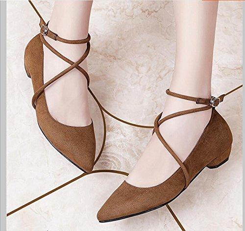 Croix Camel Femme De Bold Talon 5cm Chaussures 2 Bout Avec Coréenne La couleur Marée Nouvelles Haut 37 Version Bracelet Femmes Khskx Un aUq5nXw8