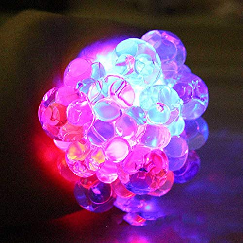 DHmart 1Pcs 6cm Squishy Light-up Grape Ball Glow in The Dark Squeezable Ball Mesh Anti-Stress Luminous Toy for Kids Adult