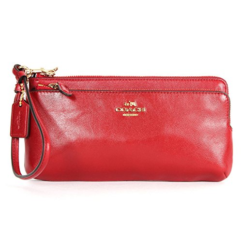 Coach 52636 Madison Leather Double ZIP Accordion Wallet Red Currant