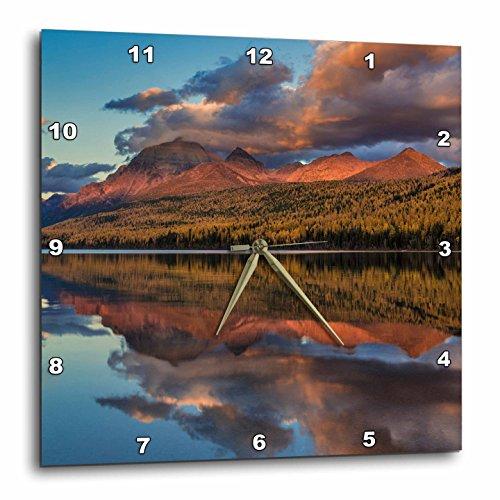 3dRose Danita Delimont - Lakes - Sunset on autumn tamarack trees over Bowman Lake, Glacier NP, Montana - 13x13 Wall Clock ()