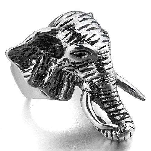 INBLUE Stainless Steel Silver Elephant