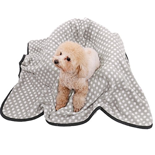 Ohana Elegant Pet Blanket for Dogs and Cats,Soft and Warm Puppy Sleep Mat Fleece Bed Covers for Bed, Couch, Car, Crate and Carrier Bag Grey M by Ohana