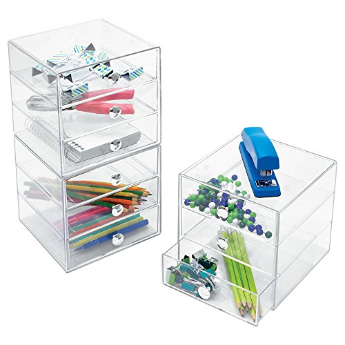 InterDesign 3 Drawer Storage Organizer for Makeup, Beauty Products, Office Supplies, Clear