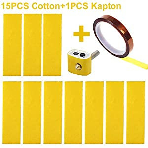 CCTREE 15PCS 3D Printer Heating Block Cotton with Kapton Tape Hotend Nozzle Heat Insulation Cotton for Ultimaker/Makerbot/Creality CR-10 from CCTREE