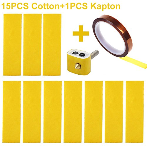 CCTREE 15PCS 3D Printer Heating Block Cotton with Kapton Tape Hotend Nozzle Heat Insulation Cotton for Ultimaker/Makerbot/Creality CR-10 by CCTREE