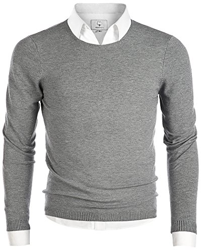MOCOTONO Men's Long Sleeve Crew Neck Pullover Knit Sweater Gray X-Large