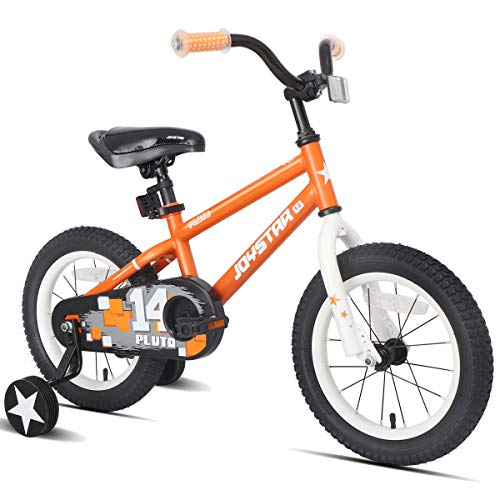 JOYSTAR 14 Inch Kids Bike with Training Wheels for 3 4 5 Years Old Boys, Toddler Cycle for Early Rider, Child Pedal Bike,Orange