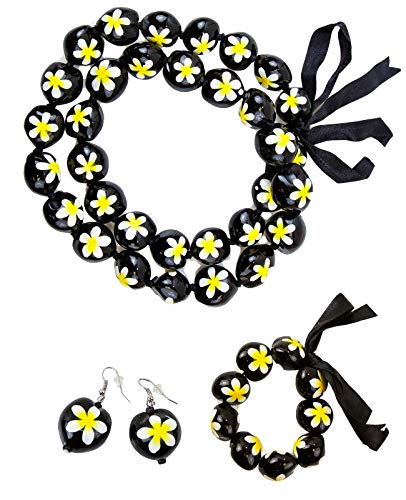 - Hawaiian Plumeria Jewelry set -Necklace, Bracelet, Earring for Luau party, Graduation, Birthday. Made with real Kukui Nut Lei with Hand Painted Flower, Tropical, Orchid Decoration (Yellow 3 Piece Set)