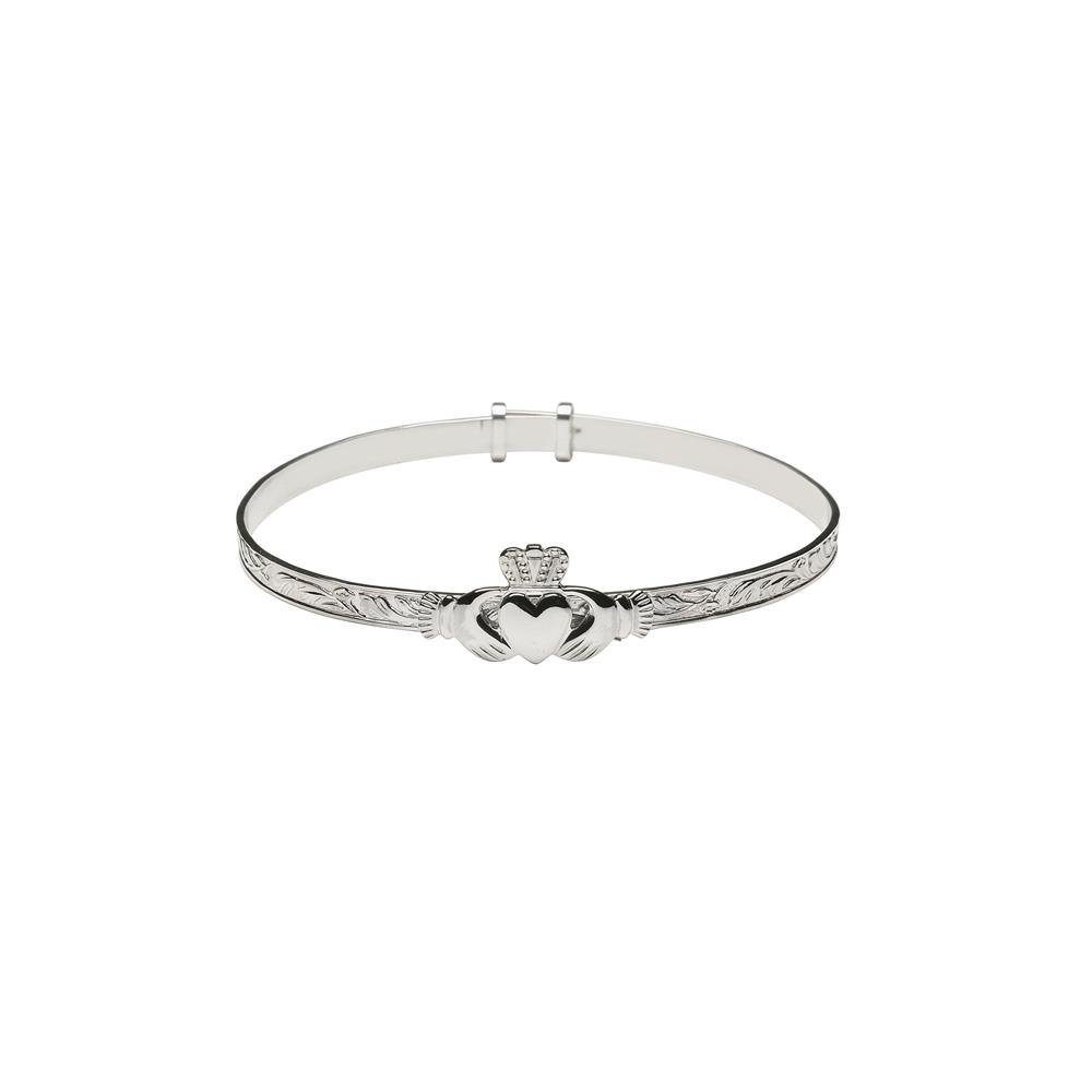 Claddagh Bangle Medium Sterling Silver Adjustable Irish Made