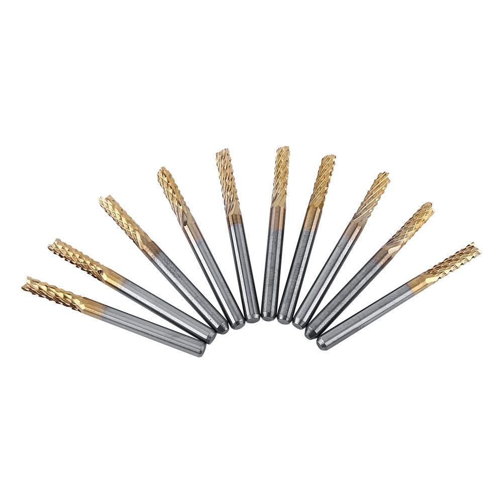 fibra di vetro legno 10 pezzi fresa in metallo duro da 3,175 mm Fresa da 1//8 di pollice con rivestimento in PC CNC B per incisione su plastica Fresa in metallo duro
