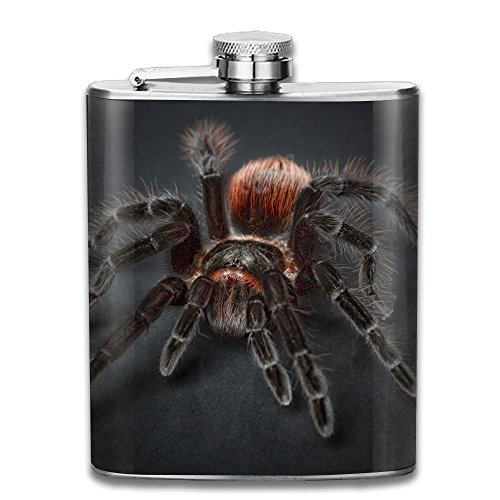 - ICE PIZZA Silent Spider Stainless Steel Hip Flask 7 Oz (No Funnel) Creative Design Full Printed