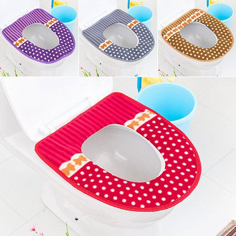 Toilet Seat Cover - 1 Piece Thicken Plush Washable Bathroom Toilet Seat Cover Mat Lid Cloth Warmer Toilet Washable Cloth Seat Cover Pads - Sugar Beach Turkey