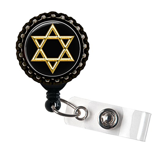 Star of David - Black Retractable Badge Reel ID Holder