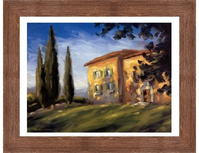 A Rural Villa by Michael Downs – 15.75 X 11.75インチ – アートプリントポスター LE_56762-F10570-15.75x11.75 B01NAW1EH5 Rustic Brown Frame