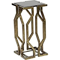 Modern Geometric Black Granite Top Accent Table; Brass