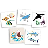 Under the Sea Variety Set includes 25 assorted premium waterproof colorful metallic kids temporary foil ocean inspired Fun Tats by Flash Tattoos, party favor