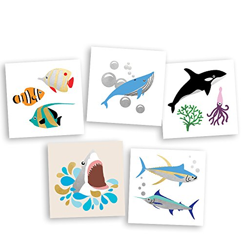 Under the Sea Variety Set includes 25 assorted premium waterproof colorful metallic kids temporary foil ocean inspired Fun Tats by Flash Tattoos, party favor -