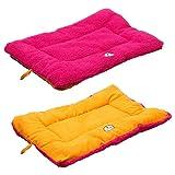 Pet Life Eco-Paw Eco-Friendly Reversible Designer Fashion Pet Dog Bed Mat Hot Pink/Orange Large