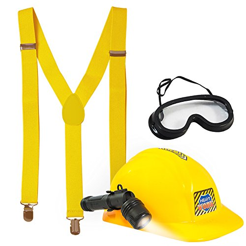Miner Costume For Halloween - Fireman Costume - Construction Costume - Occupation Costume by Tigerdoe (Construction Helmet with Flashlight,Goggles and Yellow Suspenders)