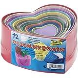 Folia 3309 - Geschenkboxen aus Karton Herz, farbig, 12 Stück in verschiedenen Größen und Farben