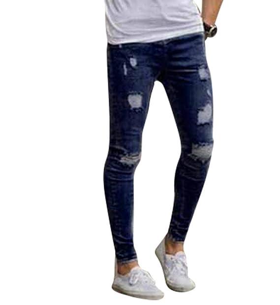 e40c76dab9d0 WanYangg Jeans Skinny Strappati Uomo Moda Casual Slim Fit Denim Stretch  Distressed Ripped Jeans Maschio Elasticizzati Ginocchio Sfilacciati  Pantaloni Pants ...