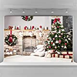 Christmas Backdrops for Photography 10x6.5ft Seamless Cloth White Brick Fireplace Photo Studio Background Props Toy Bear Backdrop Children Birthday Party Decoration