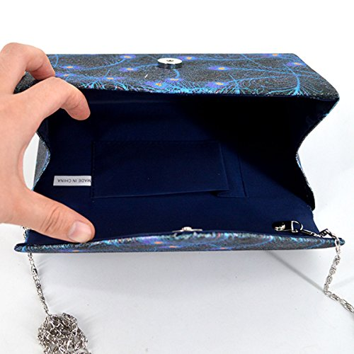 Strap Evening Bag Blue Women with Bag Girls Flap Dazzling Shoulder Chain Purse Clutch Felice 8Yq7OBY