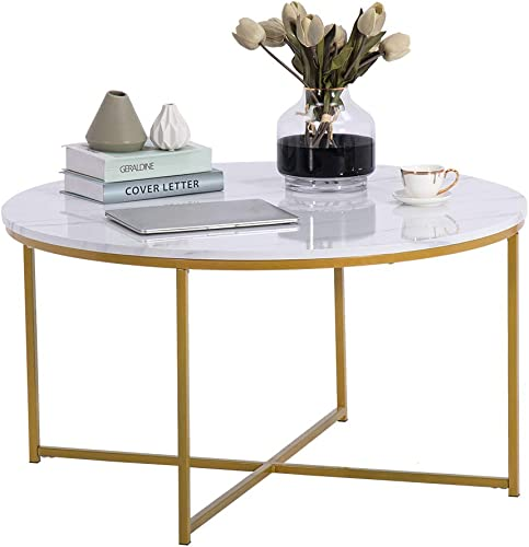 SSLine 35-Inch Gold Round Coffee Table Modern White Sofa Couch Side Table with Faux Marble Top Elegant Accent Table with Golden Metal Frame for Living Room Bedroom
