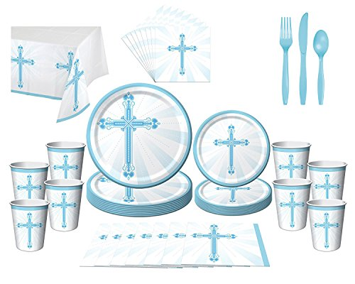 First Communion Baptism Christening Confirmation Party Bundle (16 Guests) (Blue Christening Napkin)