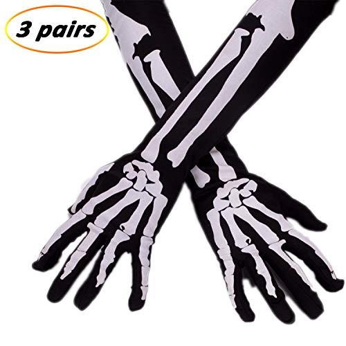 eborder 3 Pairs Skeleton Gloves Halloween Full Finger Gloves for Halloween Costume Cosplay Party (Long Size)