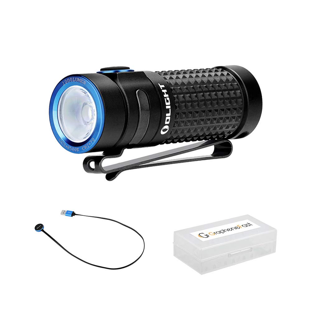 Olight S1R II 1000 Lumens Compact Rechargerable EDC Flaslight with TIR Optic Lens and IMR 16340 Battery for Camping, Hiking, Mountaineering and Home, bundle GrapheneFast Battery Case by Olight