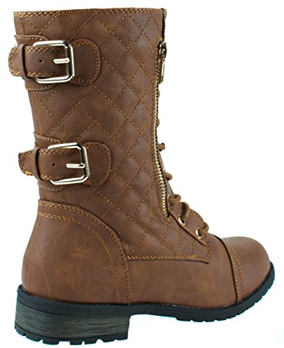 Calf Dual Mid Military Women's Mango Forever Tan 79 Buckle Boots up Lace Leatherette Zipper UZPBqB