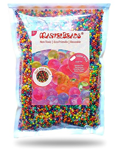 MarvelBeads Water Beads Rainbow Mix (Half Pound) for Spa Refill, Sensory Toys and Décor (Non-Toxic) (Aqua Water Beads)